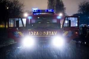 Fireman truck on rain
