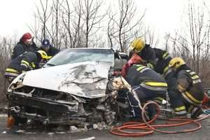 Fireman saving from car crash