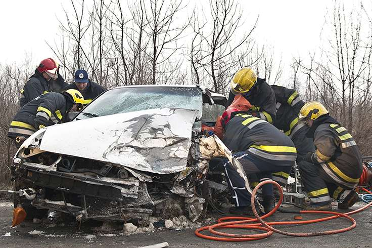 Fireman saving from car crash