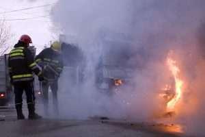 Firemen putting down the fire