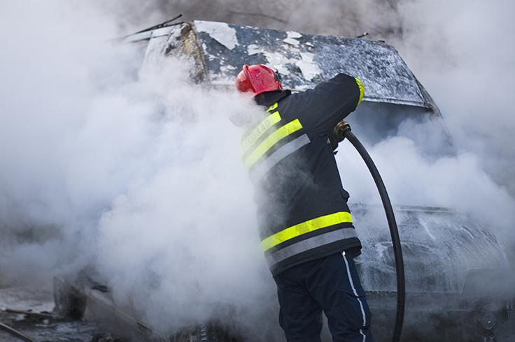 Fireman in smoke