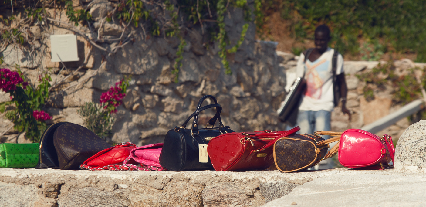 Mykonos immigrant selling fake bags