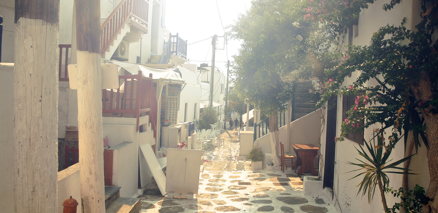 Mykonos street with romantic light