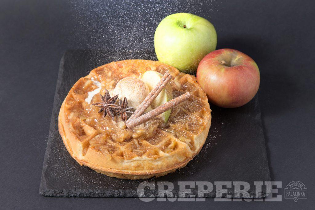 Waffle Apple pie with cinnamon powder