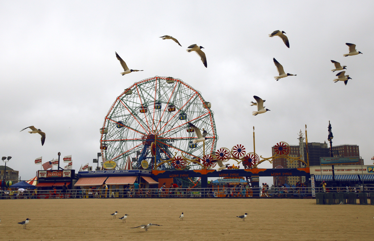 Luna park with seagulls flying in Coney Island