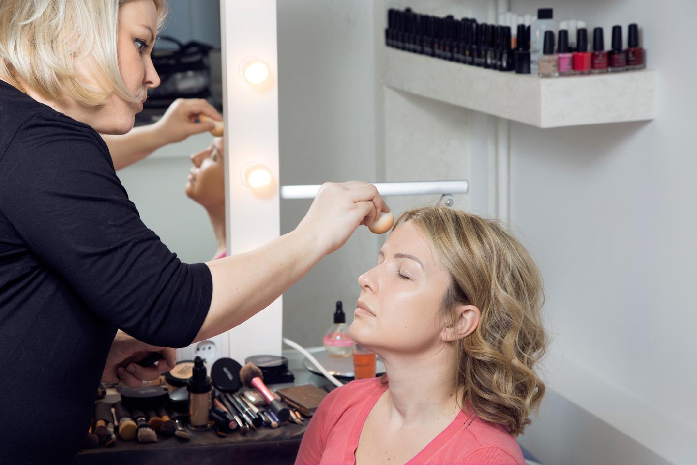 Make up artist working