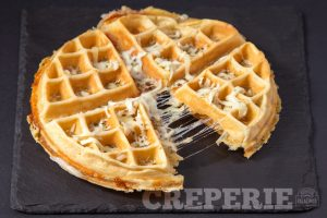 Pepperoni Pizza Waffle with cheese stretching