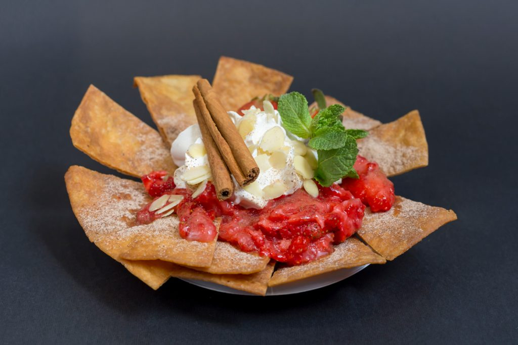 Nachos with Almond, Mint, Cinnamon, Strawberries and Ice-cream
