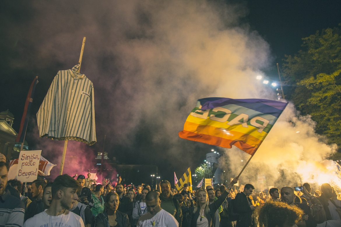 Protest smoke with pace flag