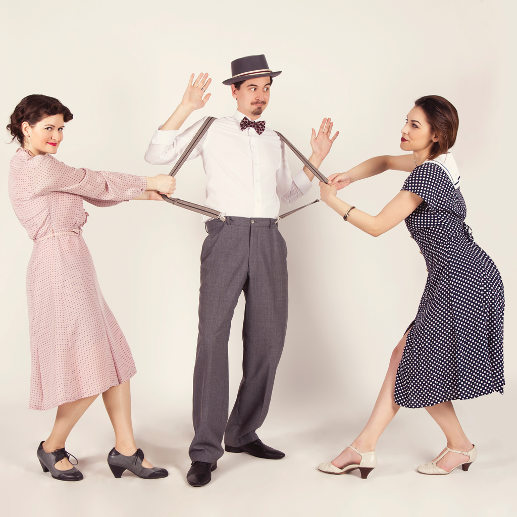 30s lindy hop, guy and two girls