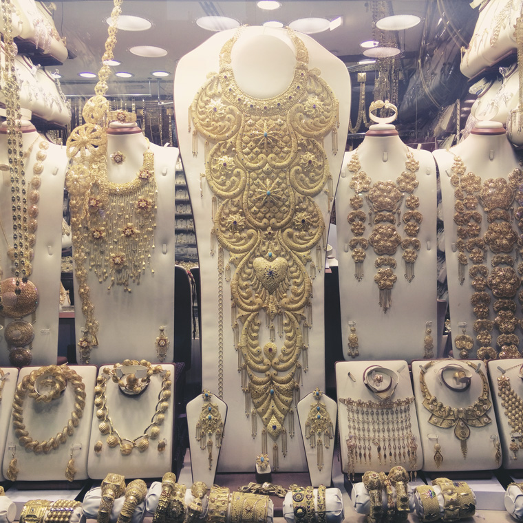 Shop window with view on jewelry in Dubai