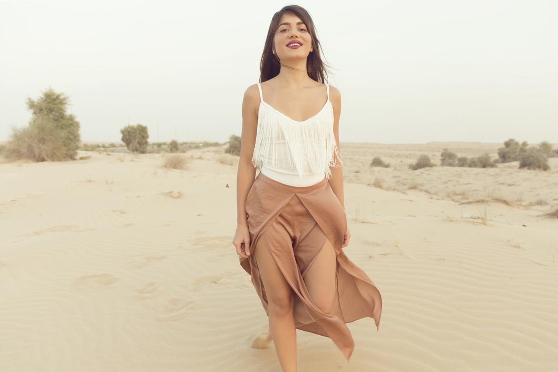 Young women in desert
