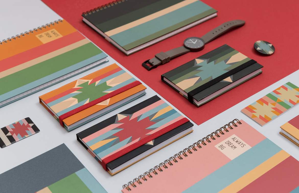 Set of colorful notebooks