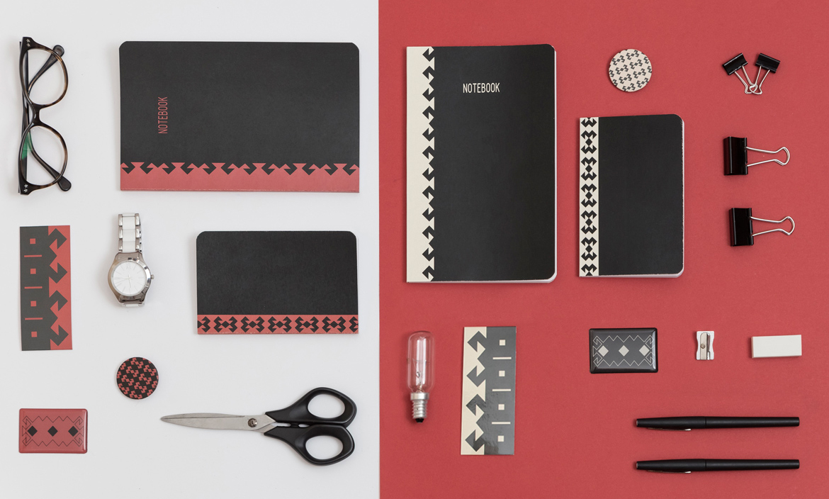 Set of Red-Black-White notebooks