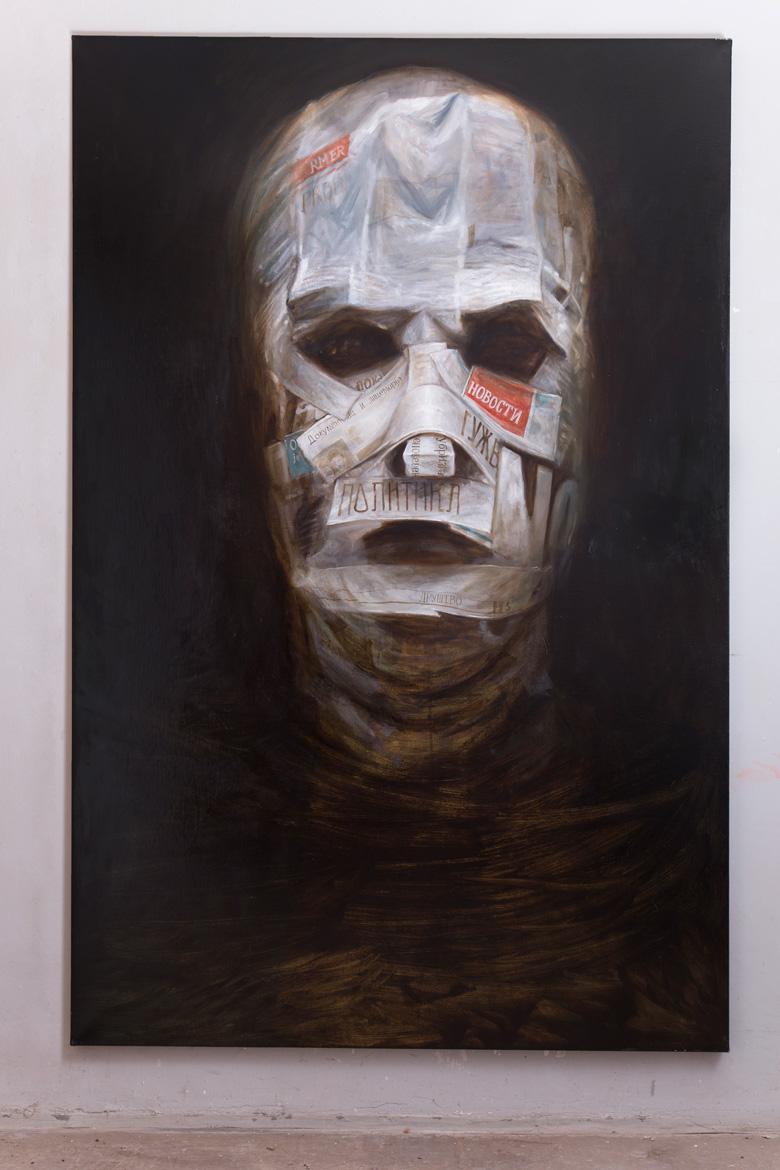 Face covered with newspapers Oil Painting