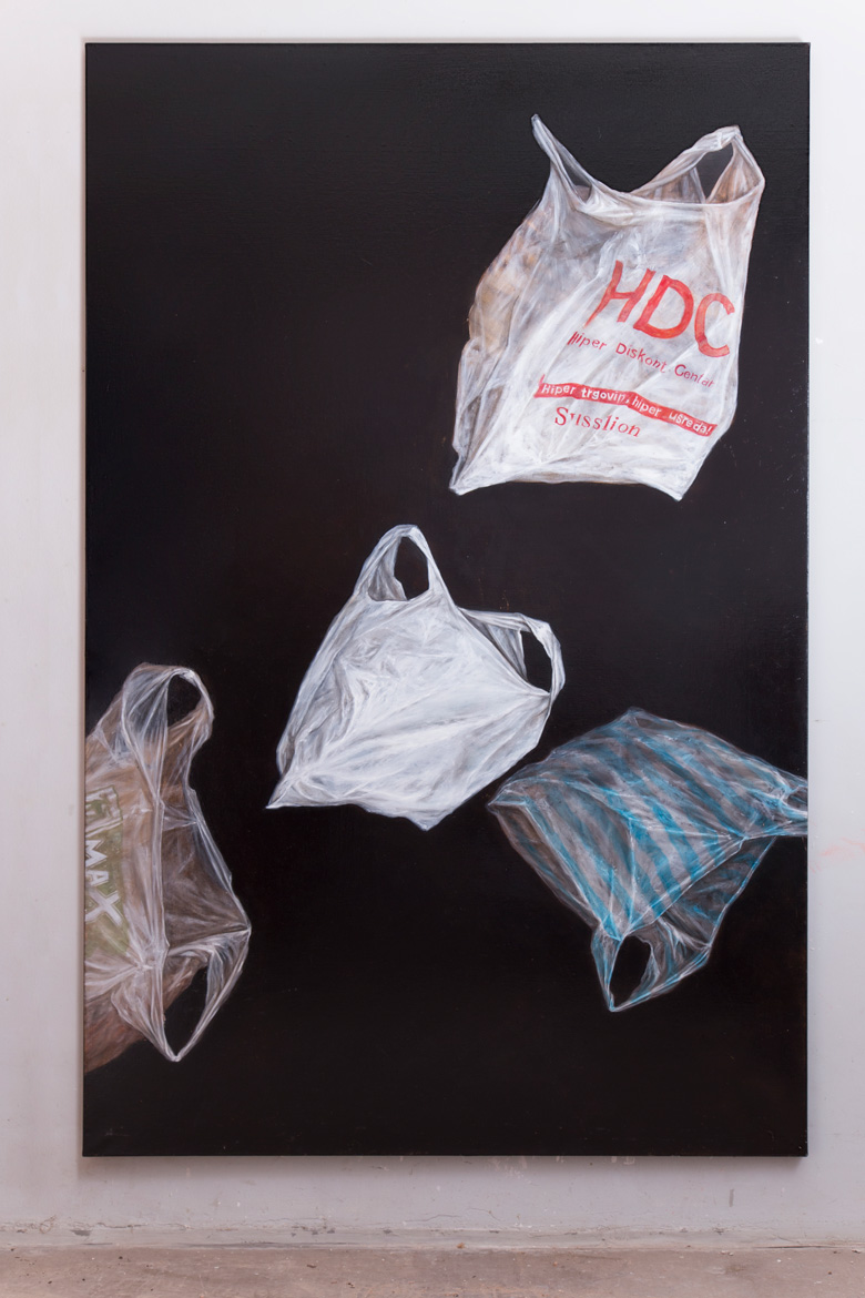 Plastic bags composition Oil Painting