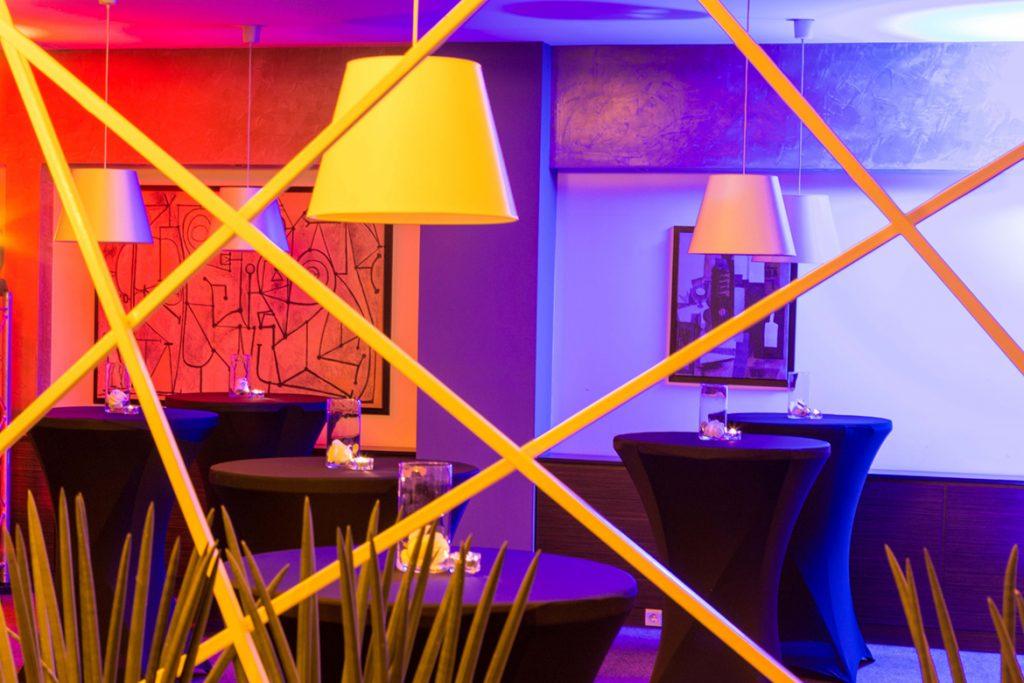 Colorful lighting in restaurant interior