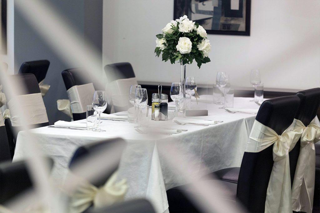 Restaurant interior with wedding decorations
