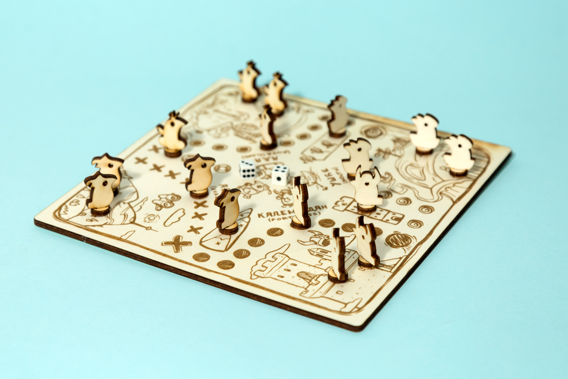Board Game Man don't get angry with bird shaped pawns and their houses created into Belgrade districts