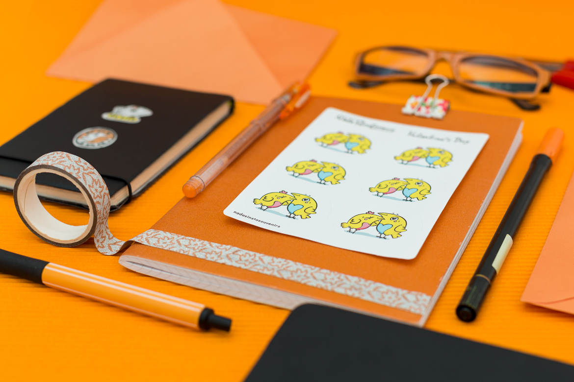 Stylish Orange Stationery with paper stickers