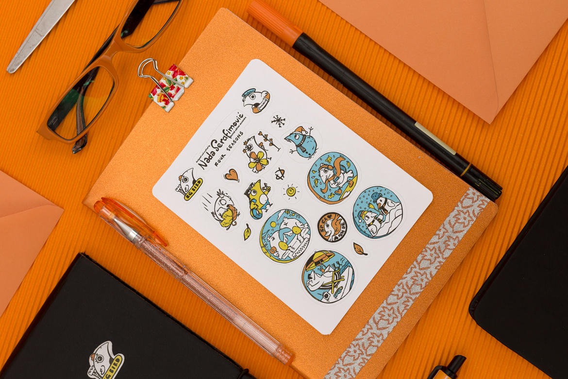 Stylish Orange Stationery with illustrated paper stickers