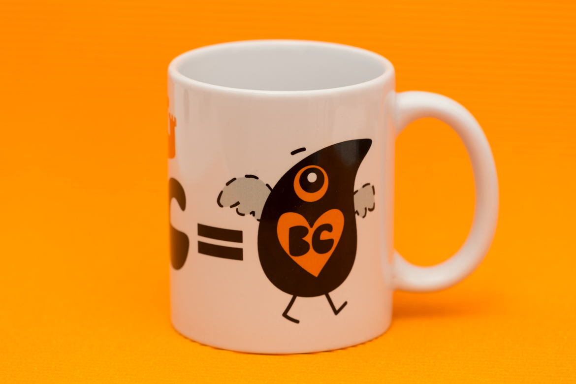 Ceramic Tea Mug with Bird Illustration