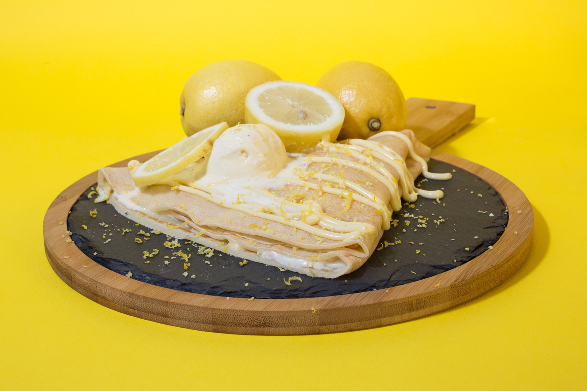 Lemon creme and ice-cream on crepe